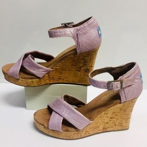 Toms Sparkly Pink X-front & Choker Strap Wedge(6M)